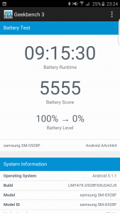 Samsung Galaxy S6 Edge+ batteritest Geekbench 3